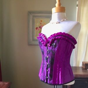 Other - Purple Satin & Lace Flirty Corset L EUC